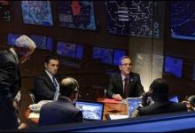 Kiefer Sutherland and Adan Canto in mission control: Designator Survivor/ABC