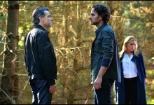 Peter Gallagher, Manolo Cardona & Piper Perabo in Covert Affairs