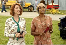 Lauren Lee Smith enjoying  the airshow with Chantel Riley in The Frankie Drake Mysteries