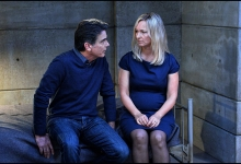 Keri Matchett visits a framed  Peter Gallagher in  Covert Affairs
